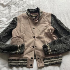Madewell pink and grey letterman style jacket